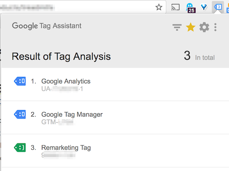 Google tag assistant code results
