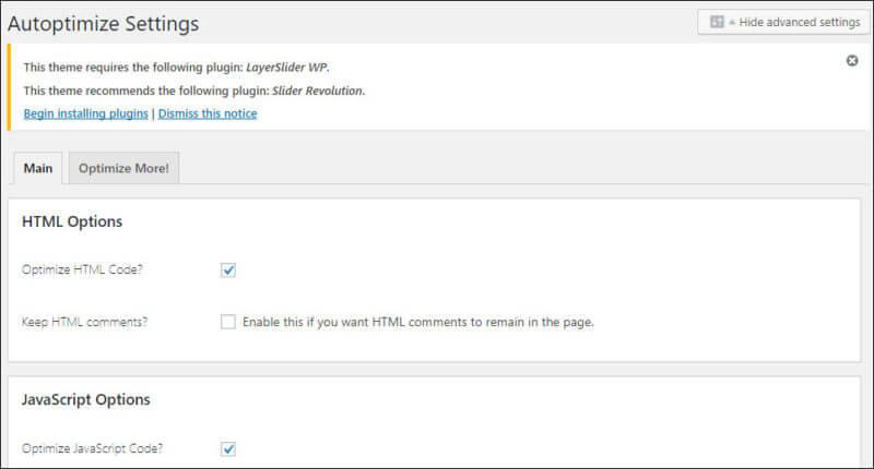 A screenshot of the Autoptimize WordPress plugin