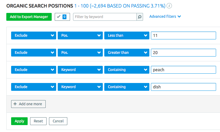 Positions report filtered for the 2nd page of search results