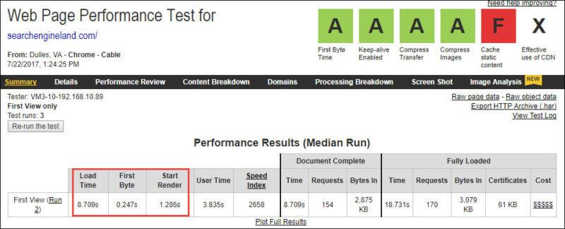 A screenshot of WebPageTest.org
