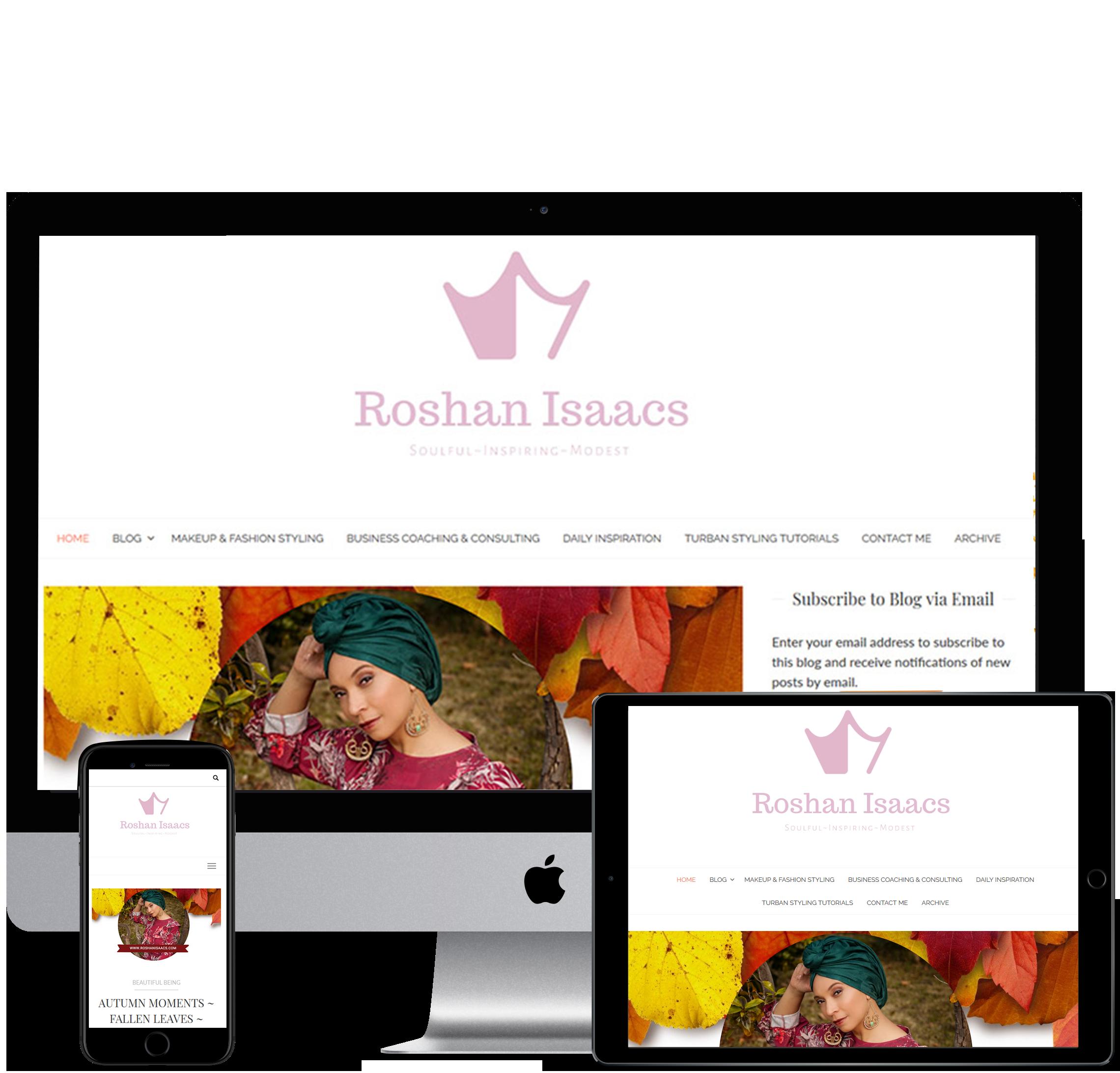 Website design for Roshan Isaacs. Website for Fashion blogger